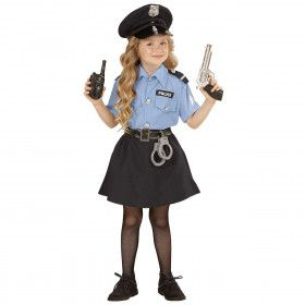 Blauw Streng Politiemeisje Kostuum