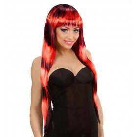 Cruella Deville Pruik, Fashion Streaks Zwart / Rood