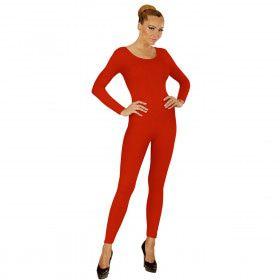 Unicolor Body Volwassen, Lang, Rood Vrouw Kostuum