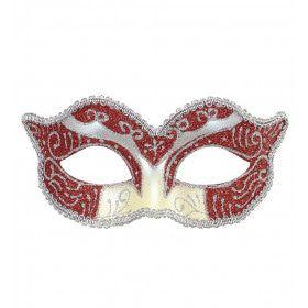 Luxe Oogmasker Hertogin, Rood / Zilver Glitter
