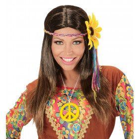 Dammy Pruik, Hippie Bruin Met Meerkleuren Bloem Hoofdband