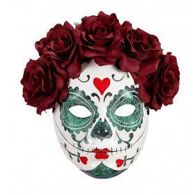 Mazatlan Masker Dia De Los Muertos Met Burgundy Rozen