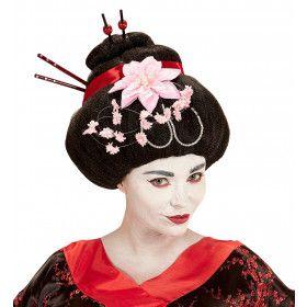 Osaka Pruik, Geisha Met Bloemen En Stokjes
