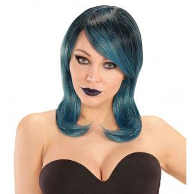 Pruik Foxy Megan Zwart / Blauw / Groen