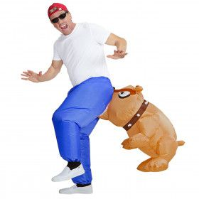 Bil Bijtende Bulldog Opblaasbaar Man Kostuum