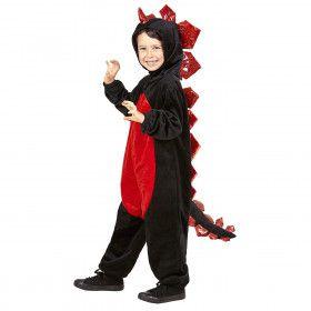 Zwarte Pluche Draak Roodbuik Jongen Kostuum