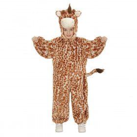 Jumpsuit Met Kap En Masker 98 Centimeter Eindeloos Lange Giraf Kind Kostuum