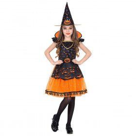 Pompoen Heks Halloween Meisje Kostuum
