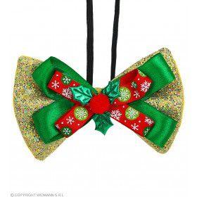 Vlinderdas Kerst Met Hulst Goud