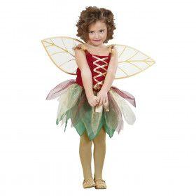 Vrolijke Fladder Fee Gouden Vleugels Meisje Kostuum