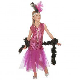 Roze Glitter Jaren 20 Showgirl Meisje Kostuum
