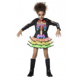 Funky Skelet Rainbow Meisje Kostuum
