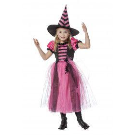 Paranormale Heks Roze / Zwart Meisje Kostuum