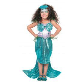 Blauwe Zeemeermin Met Diadeem Meisje Kostuum