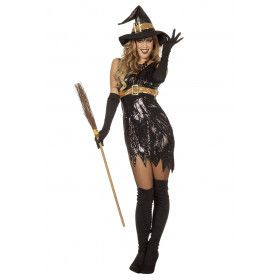 Oogverblindende Heks Pailletten Vrouw Kostuum