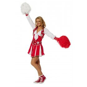 Dansende Cheerleader Luxe Rood Vrouw Kostuum