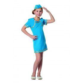 Blauw Als De Lucht Stewardess Meisje Kostuum