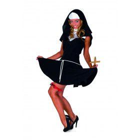 Frivole Blije Klooster Non Vrouw Kostuum