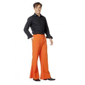 Flitsende Wijde Pijpen Broek Oranje Man