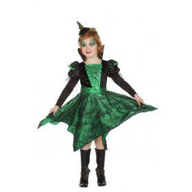 Groen Spinnen Heks Meisje Kostuum