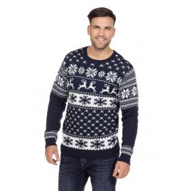 Blauw Witte Kerst Trui Rendieren En Sneeuw Man