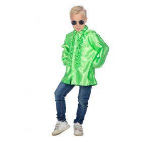 Groene Ruchesblouse Satijn Foute Disco Kind