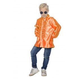 Oranje Ruchesblouse Satijn Foute Disco Kind