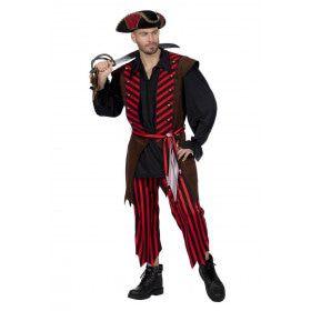 Gestreepte Kaper Piraat Patrick Pistolet Man Kostuum