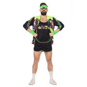 Spetterend Aerobic Neon 80s Kostuum Man