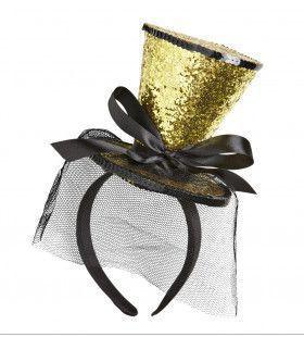 Gouden Gliiter Mini Hoge Hoed Met Sluier