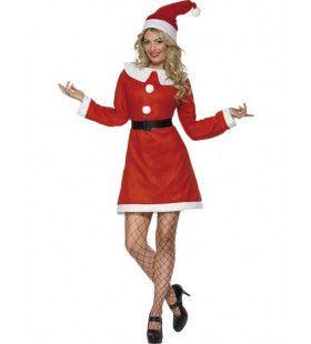 Rode Kerstvrouwjurk Classic Miss Kerstman Vrouw Kostuum