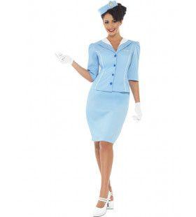 Keurige Blauwe Stewardess Vrouw Kostuum