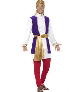 Koninklijke Arabische Man Rood Paars Goud Kostuum