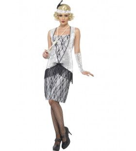 Zilveren Flapper Kostuum Vrouw