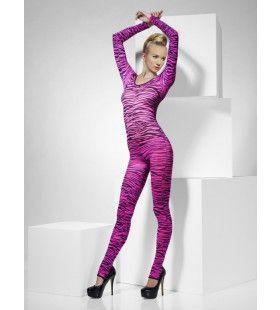 Roze Zebra Bodysuit Vrouw Kostuum