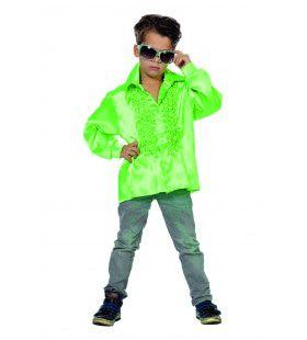 Groene Ruchesblouse Satijn Disco Fly-Boy