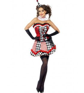 Spannende Ruiten Clown Vrouw Kostuum