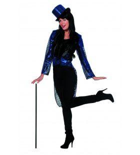 Blauwe Directrice Paillettenfrack Vrouw Kostuum