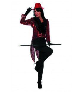 Rode Directrice Paillettenfrack Vrouw Kostuum