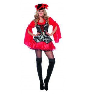 Lady Extravaganza Pirate Rood Vrouw Kostuum