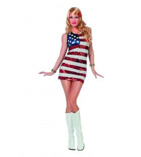 Ms Stars And Stripes Paillettenjurk Usa Vrouw