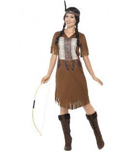 Indiaanse Strijder Dame Kloekkloek Vrouw Kostuum