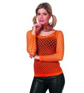 Spannend Netshirt Lange Mouw Oranje