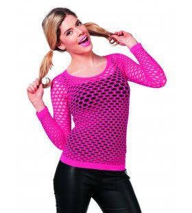 Spannend Netshirt Lange Mouw Roze