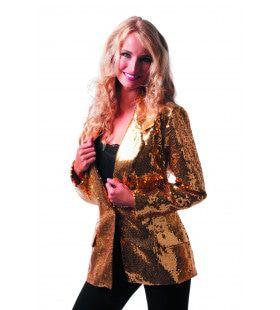Showmaster Paillettencolbert Luxe Goud Vrouw Kostuum