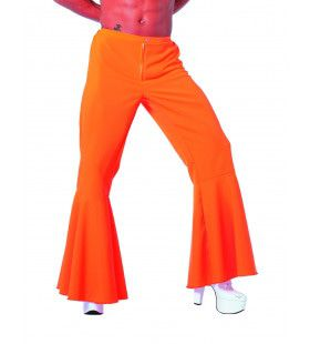 Oranje Hippie Broek Bi-Stretch Man Kostuum