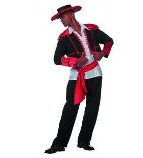 Rood Zwarte Flamenco Stierenvechter Don Miguel De Castanguelas Man Kostuum