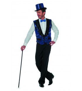 Circus Omroeper Vest Pailletten Blauw Man