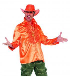 Foute Oranje Ruchesblouse Satijn Man Kostuum