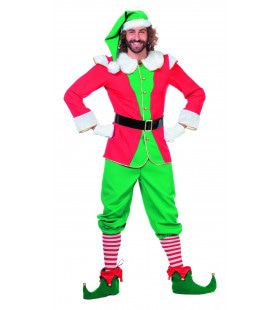 Engelse Elf Rood / Groen Met Muts Man Kostuum